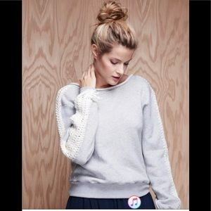 Anthropologie Pepin Crochet Sleeve Sweatshirt